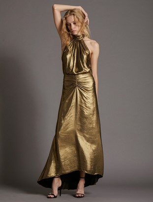 Halston Mock Neck Metallic Gown