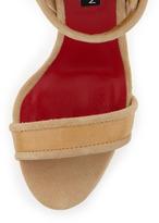 Charles Jourdan Holly Croco Ankle-Cuff Sandal, Natural