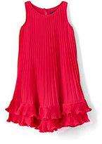 Lands' End Toddler Girls Pleated Trapeze Dress-Crimson Dawn