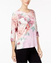 Alfred Dunner Petite Printed Lace-Trim Top