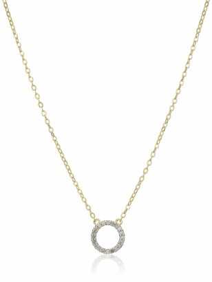 Amazon Collection 18K Yellow Gold Plated Sterling Silver Diamond Circle Pendant Necklace(1/10 cttw I-J I3)