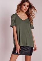 Missguided Boyfriend V-Neck T-Shirt Khaki