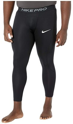 Nike Big Tall Pro 3/4 Tights (Black/White) Men's Clothing