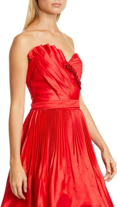 Flor Et. Al Anna Pleated Duchesse Satin Bustier Top