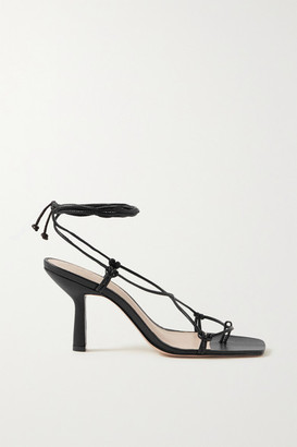Porte & Paire - Knotted Leather Sandals - Black