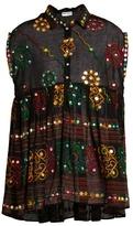 Juliet Dunn Embroidered cotton shirtdress