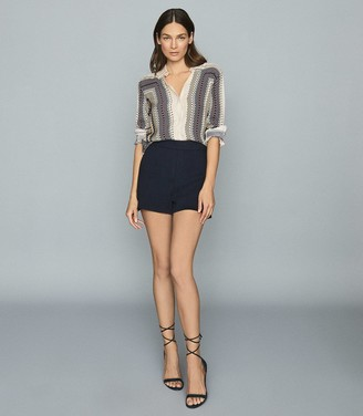 Reiss Lana - Textured Tailored Shorts in Navy