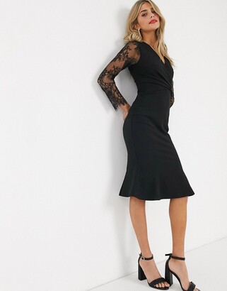 Lipsy plunge front fluted hem pencil dress with lace sleeves in black