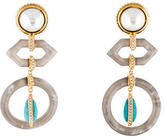 Rachel Zoe Crystal Pearl and Turquoise Chandelier Earrings