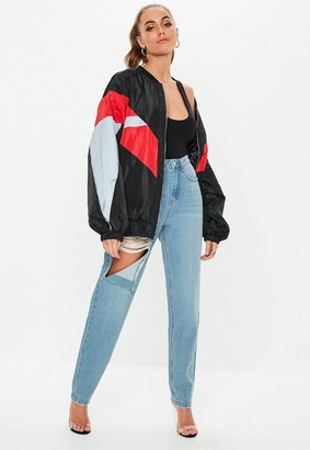Missguided Tall Blue Stone Wash Ripped Thigh High Waisted Mom Rigid Jeans