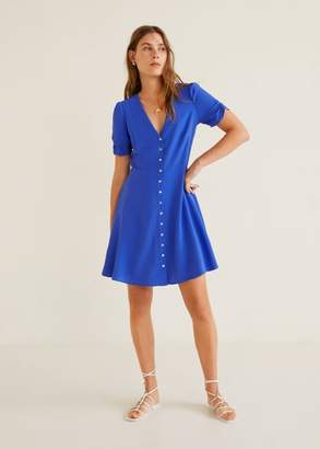 MANGO Short buttoned dress vibrant blue - 4 - Women