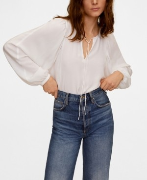 MANGO Women's Puffed Sleeves Flowy Blouse