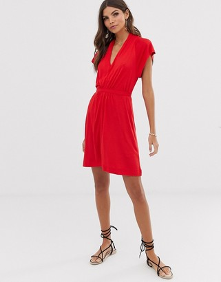 French Connection Meadow jersey drape dress-Red