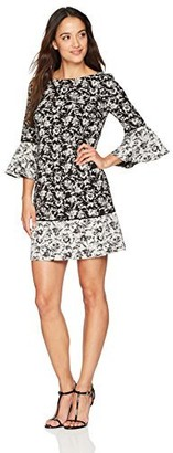 Jessica Howard JessicaHoward Women's Petite Printed Bell Sleeve Dress