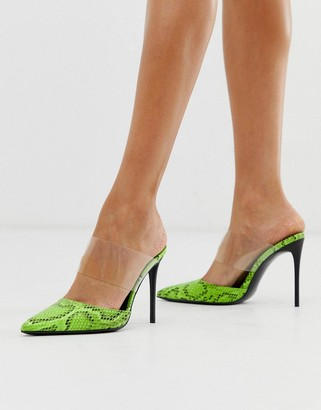 Truffle Collection stiletto pointed clear strap shoes in snake-Green