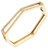 Maiyet 18K Yellow Gold & 0.90 Total Ct. Diamond Geometric Open Bangle Bracelet