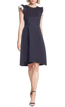 Halston Contrast Ruffle Sleeve Cocktail Dress