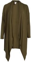Bellino Olive Drape Sidetail Open Cardigan - Plus