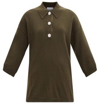 Ganni Crystal-button Cashmere Polo Sweater - Khaki