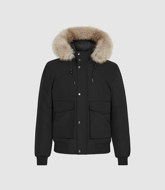 Reiss Bishop - Faux Fur Hooded Bomber Jacket in Black