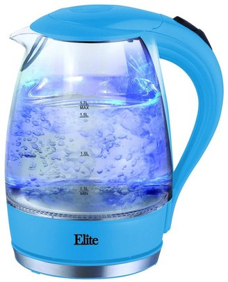Elite Platinum 1.7-Liter Glass Cordless Electric Kettle, Blue