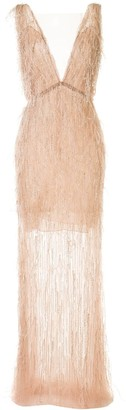 Marchesa Caplet Sheer Gown