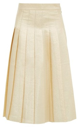 Vika Gazinskaya Pleated Silk-blend Lame Midi Skirt - Gold