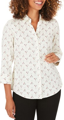 Foxcroft Mary Cosmo Time Button-Up Cotton Shirt