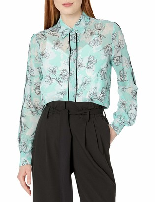 Ellen Tracy Women's Lattice Inset Pajama Shirt