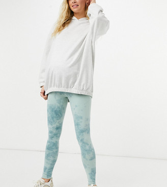 ASOS DESIGN Maternity tie dye co-ord legging in washed mint