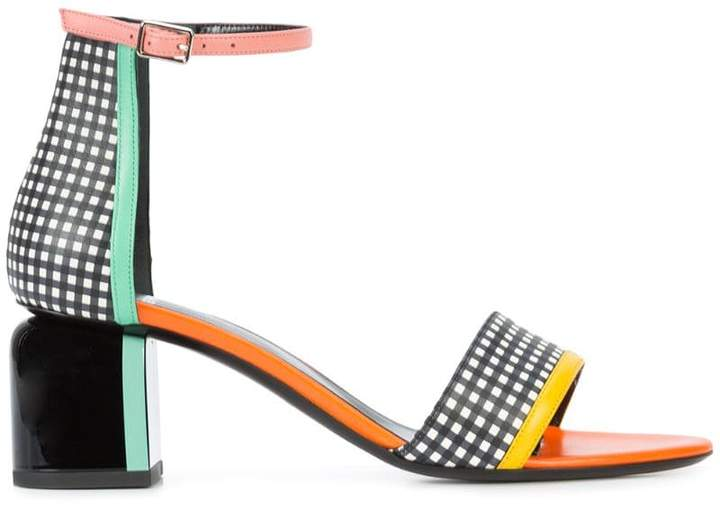 Pierre Hardy block heel gingham sandals