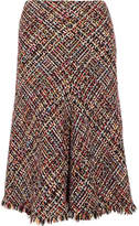 Alexander McQueen Fringed Tweed Midi Skirt - Red