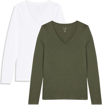Meraki Amazon Brand Women's Long Sleeve V Neck T-Shirt