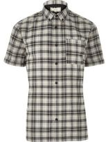 River Island MensGrey check short sleeve shirt