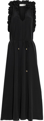 Zimmermann Belted Ruffled Silk Crepe De Chine Midi Dress