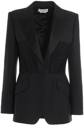 Alexander McQueen Lace-Panel Detailed Blazer