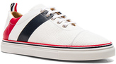 Thom Browne Pebble Grain & Calf Leather Straight Toe Cap Sneakers in White.