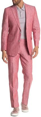 Tommy Hilfiger Salmon Solid Two Button Notch Lapel Linen Suit