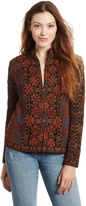 Invisible World Women's Cardigan 100% Alpaca Wool Zip Up Sweater Hand Embroidered Floral Design Ophelia XL Brown