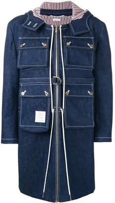 Thom Browne hunting washed denim cardigan overcoat