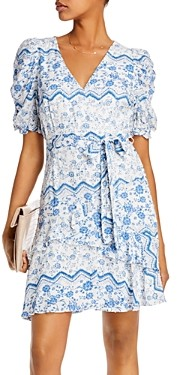 Aqua Printed Puff-Sleeve Dress - 100% Exclusive