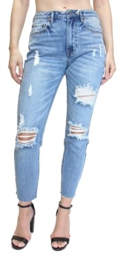 Thumbnail for your product : Almost Famous Juniors' Destructed High-Rise Mom Jeans