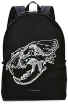 Alexander McQueen Lion Skull Leather-Trim Backpack, Black