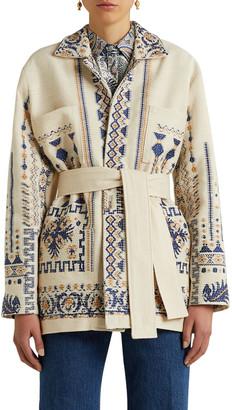 Etro Jacquard Knit Wool-Blend Belted Wrap Coat