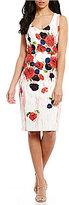David Meister V-Neck Floral Printed Sheath Dress