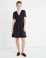 Madewell Petite Flutter-Sleeve Ruffle-Hem Dress in Sugar Dot