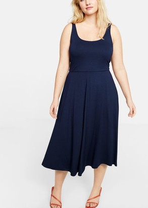 MANGO Violeta BY Midi dress navy - 10 - Plus sizes
