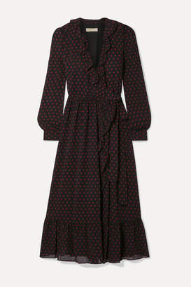 MICHAEL Michael Kors Ruffled Polka-dot Chiffon Wrap Dress - Black