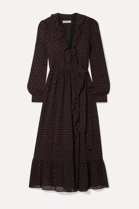 MICHAEL Michael Kors Ruffled Polka-dot Chiffon Wrap Dress - Black