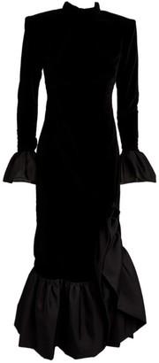 Sandra Mansour Velvet Ruffled Midi Dress
